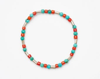 Turquoise And Coral Beaded Bracelet
