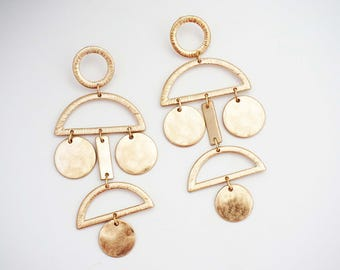Gold Geometric Statement Earrings