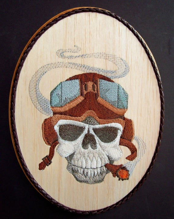 Skull Man Cave Decor : Skull embroidery on wood man cave decor steampunk