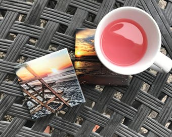 Valentines Day Gift For Her / Lifeguard Chair Sunrise Beach Coasters / Ceramic Tile Drink Holders