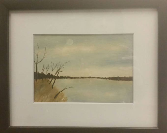 River Haze - Oil on Paper - Framed