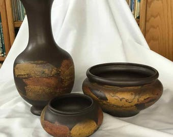 """Vintage Royal Haeger """"Earth Wrap"""" Vase with Two Matching Planters - Made in USA - 1965 to 1975"""