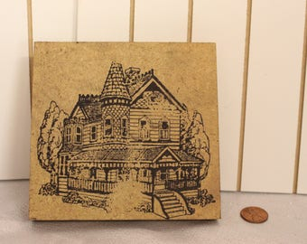 Vintage Large size House rubber Stamp Wood Stamp for Scrapbooking or Card Making Altered Art Home