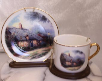 "Vintage Thomas Kinkade ""Moonlight Cottage"" Porcelain Cup and Saucer with Stand"