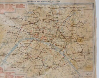 Map of Paris / Vintage Red Cross Map of Paris / Pocketsized / Authentic Condition / Estimated 1940's.
