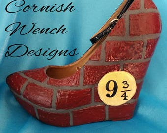 Harry Potter Sculpted wearable shoes, Platform 9 3/4 Wedges Made To Order