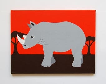 "Rhino Nursery Art, Rhino painting, Safari Nursery decor, Rhino Wall Art, Baby Boy decor, Kids Animal Art, 16"" x 12"" original canvas"