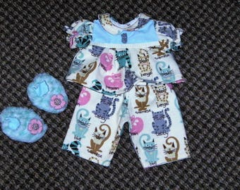 "16"" Cabbage Patch Doll Clothes~3 pc. Kitty Cats/Kittens/Kitties Pajamas/PJ's with Slippers"