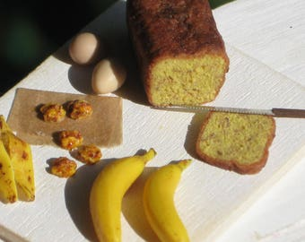 Dollhouse Miniature Banana Bread Prep Board, Dollhouse Bananas, Dollhouse Walnuts, Dollhouse Bread, Miniature Food in 1:12 scale