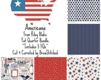 Fat Quarter Bundle - Americana from Riley Blake Fabric - Fabric by the Yard - Modern Fabric - Quilt Fabric - Patriotic Fabric Bundle