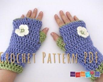 Beginner Crochet Photo Tutorial , Fingerless Gloves Pattern Crochet PDF , Crochet Instant Download Pattern, Fingerless Mittens Adult size