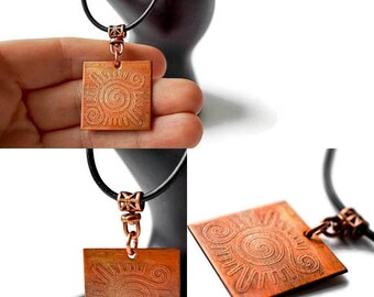Copper Tribal Necklace, Etched Copper, Engraved Copper, Tribal Jewelry, Tribal jewelry men, engraved necklace, copper jewelry handmade