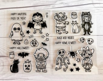 halloween stamps, halloween planner, october daily, skeleton stamps, werewolf stamps,  cat stamps, halloween scrapbook, halloween goodie bag