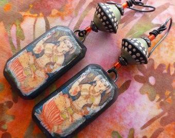 Goddess Annapurna, Boho Ceramic Decal Dangles, Goddess Earrings, Hindu Goddess Jewelry, gracefulwillowbeads, KiyoiDesign, Northernblooms