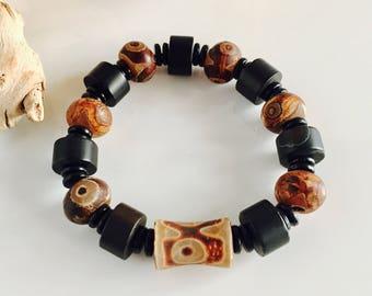 Genuine Onyx and Tibetan Agate Stretch Men's Bracelet