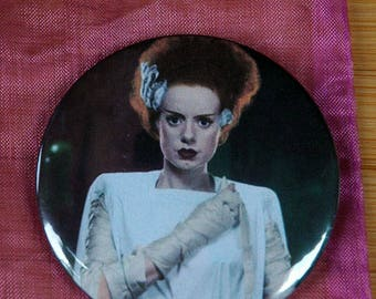 Bride of Frankenstein's Monster Retro Pocket Mirror ~ Horror Compact Round Makeup Mirror