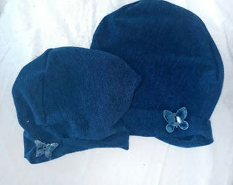 Mother and toddler jersey hats with ceramic buttons