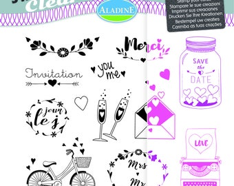 13 pieces - Theme wedding Clear stamps