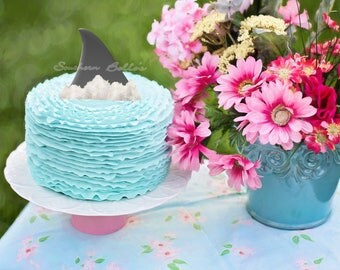 Printable Shark Fin Cake Topper-downloadable cupcake topper-beach party-instant cake decorations-personalized topper-instant topper download