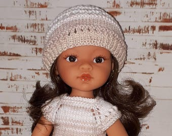 Knitting Doll's Dress and Hat for 13 inch dolls such as Paola Reina, Antonio Juan Munecas, Corolle Les Cheries