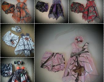Newborn Camo and Lace handkerchief sundress with or without headband & diaper cover Your chose of 22 Camo colors available.