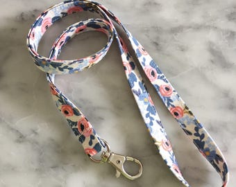 Rifle Paper Co Floral Periwinkle floral Lanyard- Floral Lanyard- Teacher lanyard
