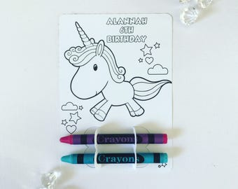 Unicorn colouring card and crayon holder