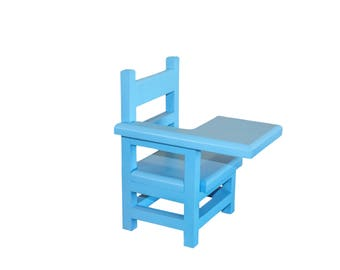"""Blue desk, AG doll Furniture, 18 inch blue doll furniture, AG School desk, 18"""" school desk, 18"""" desk, AG desk, doll desk, wood desk"""