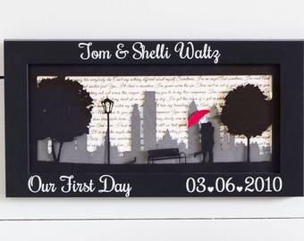 First Date Art, First Anniversary Gift, Wedding Song Lyric Art, Paper Anniversary, Custom Song Lyrics Art, City Skyline, 3D paper art