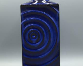 "Steuler  215 / 25  Mid Century modern blue and black OP ART,, Zyklon"" vase, designer Cari Zalloni West Germany Pottery. WGP."