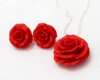 Set Red Rose Necklace and Earrings, Red Flower Necklace, Red Rose Necklace,  Red Rose Earrings Wedding Jewelry Gift