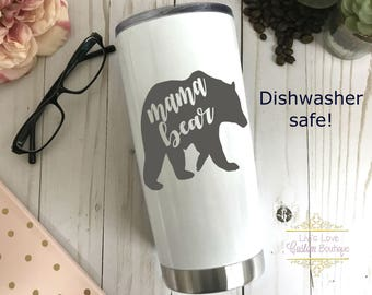 Dishwasher Safe Mama Bear Coffee Travel Mug - 20 oz Stainless Steel - Engraved - Gift for Mom - Mother's Day Gift - Mom Coffee Mugs - Cups