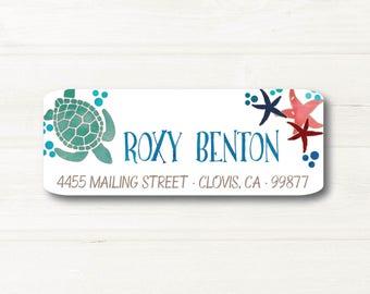 Turtle, Sea Life, Watercolor Style, Return Address Label, Personalized, MATTE, All Occasions, Beach, Ocean, Star Fish, Bubbles