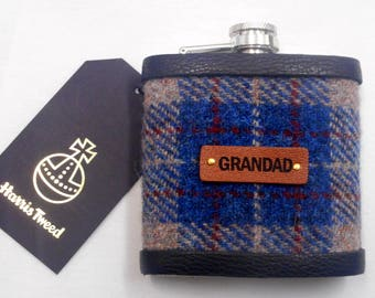 Gift for Grandad for Christmas  Harris Tweed hip flask  birthday retirement Scottish luxury gift for him real leather label choose any tweed