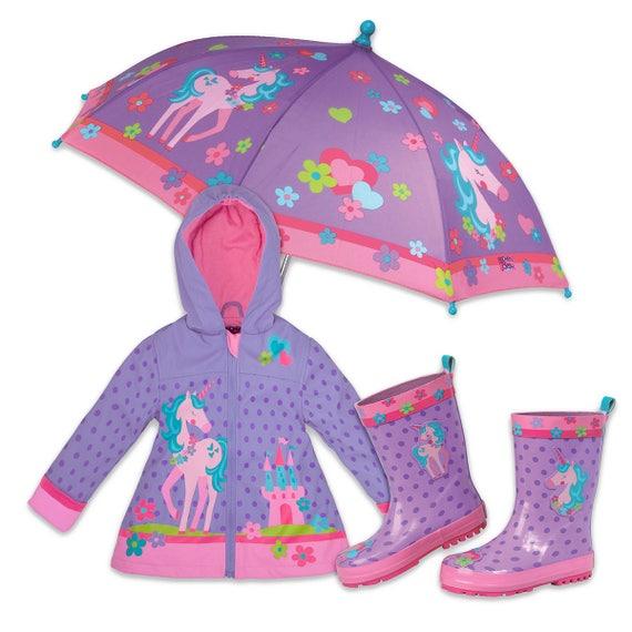 3 Pieces Set Stephen Joseph Unicorn Rain Gear, Umbrella, Rain Coat and Rain Boots.