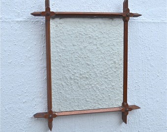 Antique Gothic Revival wall mirror carved oak frame circa.1880