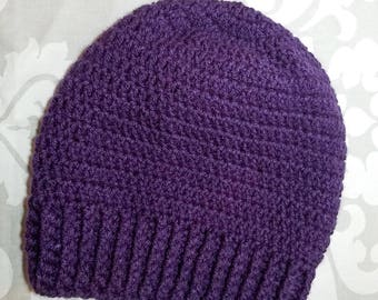 Handmade Purple Slouchy Hat for Older Kids to Adults