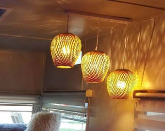 Free Shipping Natural Bamboo Pendant Light-Chandelier-Ceiling Lighting-Bar Counter Lighting-Decor Lights-Dining Room Lamp-3 PCS Lamp holders