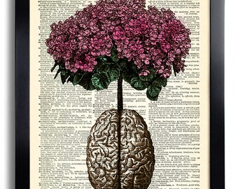 Brain Human Anatomy Flowers Print Anatomical Brain Poster Anatomy Brain Gift Vintage Human Brain Wall Decor Gift for Man Medical Present 029