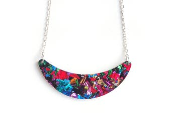 Multicolour Glitter Crescent Necklace - Laser Cut Acrylic Necklace