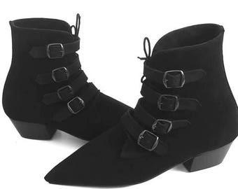 Original Pikes  Cuban Heel 4 Black Buckle/Laces