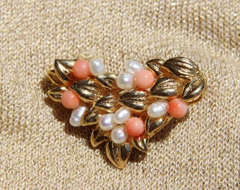 brooch made of genuine pink coral, Freshwater Pearl on plated gold