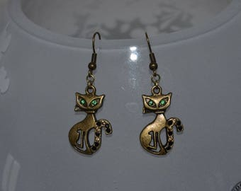 """Earrings """"Chic cat with green eyes"""""""