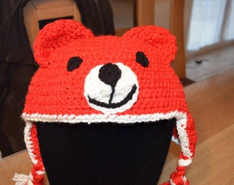 Nice red bears hat size 4-10 years
