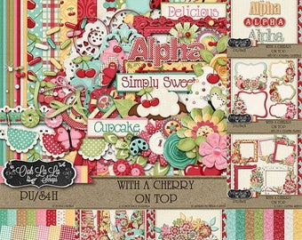 On Sale 50% With A Cherry On Top Collection Digital Scrapbook Kit - Digital Scrapbooking