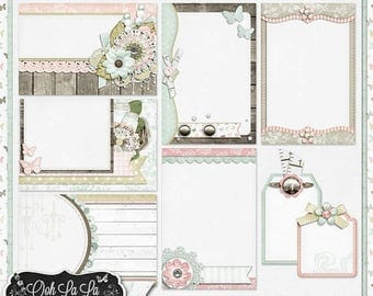 On Sale 50% Off Shabby Chic,Journal and Pocket Scrapbooking,Clip Art,Digital Scrapbook Kit, Scrapbooking,Project life
