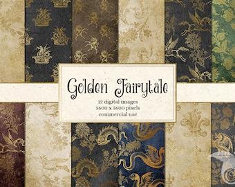 Golden Fairytale Digital Paper, Medieval Digital Paper, Royal Heraldic Crests, vintage antique mythical creatures Scrapbook Paper
