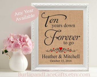 10, 10th Anniversary, 10 Years Together, Personalized Print, Ten Year Anniversary ,Gift for Him, Gift for Her, Gift for Husband  (208)