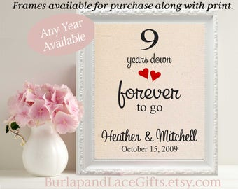 9th Anniversary Gift to Wife Gifts for men Gifts for women Husband Anniversary Gift to Husband Gift for Wife 9 Years Down Burlap (208)