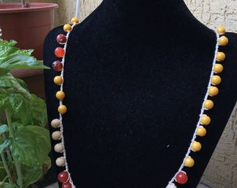 Gemstone necklace with yellow-orange